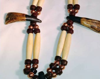 Native American inspired buffalo tooth necklace- Easter gift - Gift for nim - Hair pipe necklace