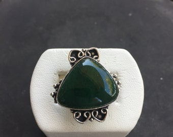 Silver and verdite ring