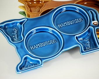 Cow Plate Set (4) - Hamburger And Condiments
