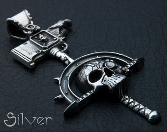 Warhammer Inspired Pendant 40k Jewelry Fantasy game necklace gift for geek Sterling Silver Handmade