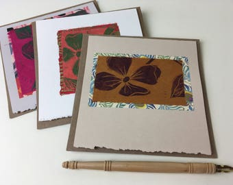 Dogwood Cards, block-printed cards, hand-printed cards, folded card with recycled kraft envelope, tree cards, flower cards
