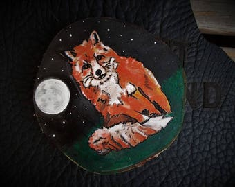 Fox, you stole my heart. Picture on wooden disk. to hang