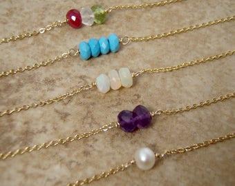 Tiny Birthstone necklace - Pearl - Turquoise - Opal - Blue topaz - Amethyst - Garnet - Aquamarine ...Custom Birthstones your choice