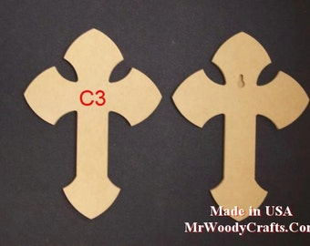 "24"" x 30"" 1/2"" Thick Unfinished Wooden Crosses, Choose from 8 different styles, Ready to Paint, w/key holes.  243050-1"