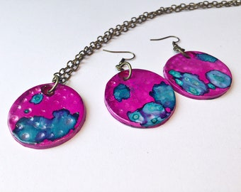 Polymer Clay Jewelry Set Art Deco Necklace and Earrings - Alcohol Ink Jewellery - Chain or Leather Cord Necklace - Mothers Day Gift for Her