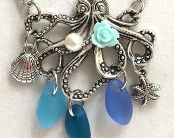 Octopus Sea Glass Necklace, Octopus Jewelry, Sea Glass Jewelry