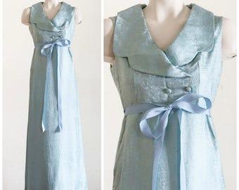 1960s sleeveless light blue brocade gown