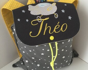 Backpack nursery or crib size 2/3 years with name and airplane embroidery