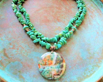 Crazy Lace Agate necklace, Green turquoise necklace, picasso necklace, turquoise necklace, gift idea for women, spring green necklace,