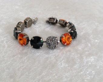 Halloween!! 12mm Swarovski Crystal Bracelet- Orange and Black Swarovski Crystal Bracelet.  Holiday gift-