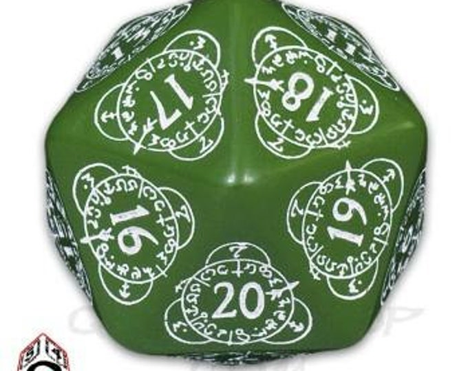 Exotic Dice: d20 Green & White Card Game Level Counter - Q-Workshop