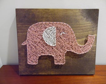 Baby elephant string art, elephant string art, baby girl nursery decor, nursery string art, nursery elephant art, baby elephant decor, art