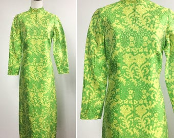 Green Floral Dress with Yellow Flowers - Floral Print Brocade Maxi Dress - Asian Style Long Sleeve Evening Gown - Vintage 60s - Lemon Lime
