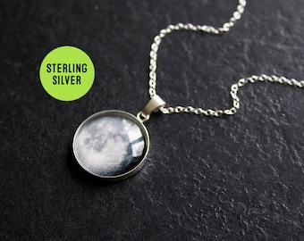 Sterling Silver Moon Necklace - Custom Moon Phase Necklace - Choice of phase Glass Dome full moon pendant Statement Necklace