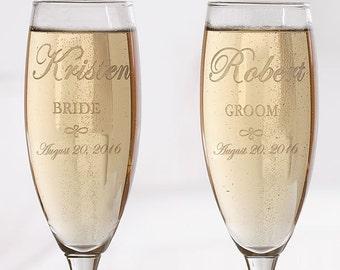 Custom Engraved Champagne Glass Set