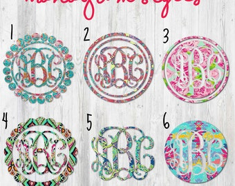 Lilly Inspired Vine Monogram Decal, Yeti Decal, Laptop Decal, Phone Decal, Macbook Decal, Monogrammed Sticker, Car Decal, iPad Decal