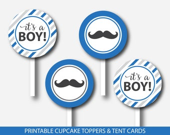 Mustache cupcake toppers and mustache tent cards in royal blue & gray, Mustache favors, Mustache buffet cards, Mustache theme party, BM3-17