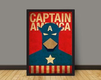 Vintage Minimalist Captain America Poster Prints