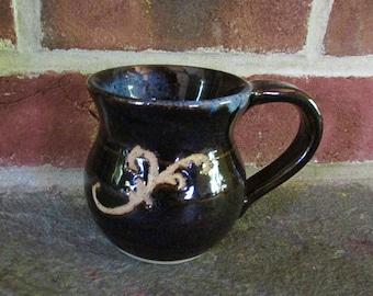 Handmade Ceramic Mug - Midnight Black and Blue with Carved Design