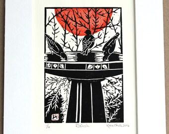 Handprinted linoleum block print: Refresh, black, red and white, bird bath, blue birds