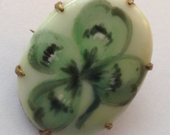 Sale Vintage Hand Painted Shamrock Clover Brooch C Clasp