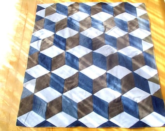 Denim tumbling blocks quilt, cube quilt, handmade blanket