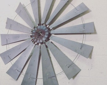 Large metal farmhouse windmill wall decor-fixer upper-industrial farmhouse- metal wall art-  gift- metal blades- christmas gift- mancave