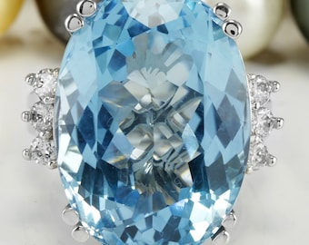 36.56 CTW Natural Blue Swiss Topaz and Diamonds in 14K Solid White Gold Ring