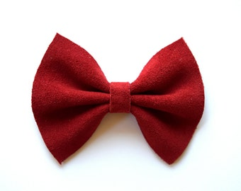 Red Suede Leather Baby Headband Brown Pink Magenta Bow for Newborn Baby Child Little Girl Adult Holiday Adorable Photo Prop Clip