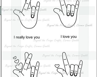 Sign Language Digital Stamp, I Love You