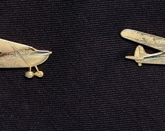 Vintage Tie Bar Clip by ANSON a Biplane gold tone 2 side clip Novelty Item #129 1950's