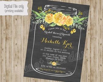 Vintage Mason Jar Bridal Shower Invitation, Flowers, yellow, pink, floral, Mason Jar Bridal Shower Invite Chalkboard Wedding Shower