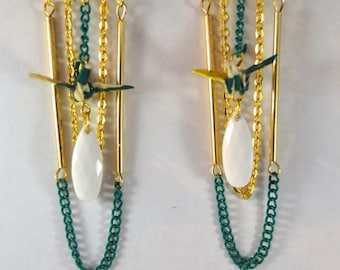 Origami Cranes Kinkaku - ji金閣寺 gold plated earrings.