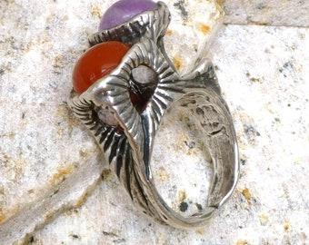 Vintage Brutalist Ring, Mid Century Modern Ring, Vintage Statement Ring, 1960's 1970's, Brutalist Jewelry