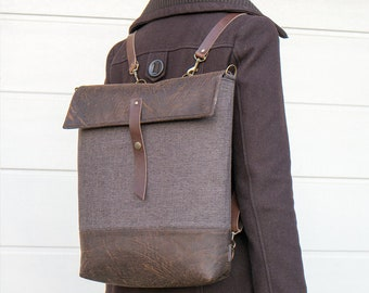Brown Backpack, Shoulder Bag, Diaper, Handbag, Leather Straps, Messenger Bag, Foldover, Convertible, Canvas, Fabric