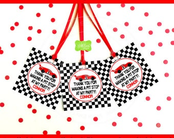 Race Car Favor Tags - Race Car Thank You Tags - Race Car Favor Stickers - Racing Tags - Digtal & Printed
