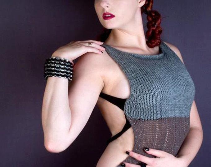 Crochet Metal  Pop Tab Chainmaille Bangle Bracelet Gauntlet