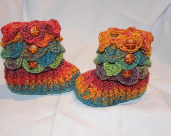 Handmade Crochet RAINBOW Baby Crocodile Stitch Booties - Size 6 to 12 months