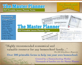 The Master Planner - 160 PDF Homeschool Forms for Record Keeping, Teaching, Homeschooling and more.