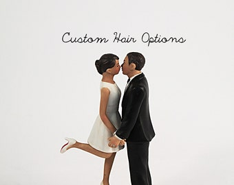 Personalized Wedding Cake Topper - Medium Skin Tone Wedding Cake Topper - Honeymoon Couple Wedding Cake Topper - Custom Wedding Cake Topper