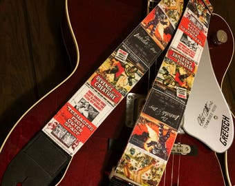 B-movie guitar strap handmade // vintage science fiction movies // retro lo-fi schlock cool // choice of leather ends // guitarist gift