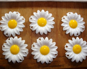 Vintage Plastic Crafting Daisies, Lightweight, White Flowers, Yellow Center, Set of 6