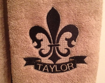 Embroidered Fleur De Lis Hand and Ribbon Hand Towels (Monogrammed, Embossed, and Crystals) - Set of 2 (shipping included)