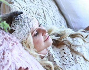 The 'Camilla' Bohemian Luxe Bridal Lace Head Wrap Veil
