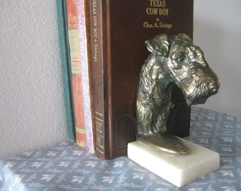 Vintage Scotty Scottie Dog Brass Bookend Book End on Faux Marble Base