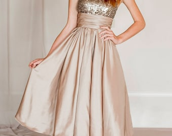 Gold sequin evening dress, sequin bridesmaid dress, sequin prom dress
