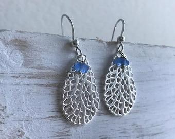 cornflower blue sterling silver coral sea glass earrings, cornflower blue sea glass earrings, sterling silver coral earrings, beach wedding