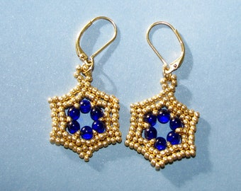 Star of David Gold and Royal Blue Earrings, Magen David Earrings, Handcrafted Judaica Earrings, Jewish and Bat Mitzva gift,Israeli jewelry,