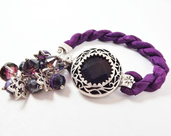 Deep Purple Exotic Boho Gypsy Statement Adjustable Bracelet - Turkish Silk Stackable - Semi Precious Stone Glass Beads - Silver