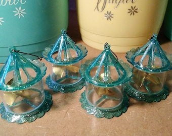 Vintage Spinner Bird Cage Christmas Ornaments lot Aqua Turquoise
